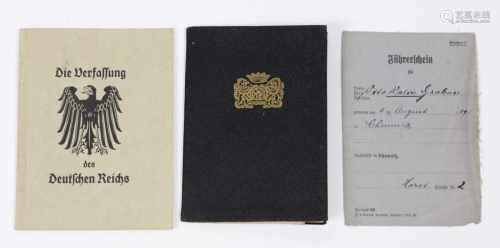 Lehrbrief, Führerschein 1937/42 u.a.farbig lithographierter sowie von Hand beschriebener