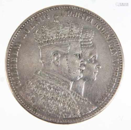 Krönungstaler Preussen 1861Silber, Doppelportrait von Wilhelm Koenig u. Augusta Koenigin v. Preussen
