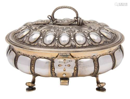 A George V silver gilt presentation tureen, maker C S Harris & Sons Ltd, London,
