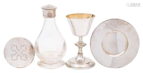 An Elizabeth II silver travelling four-piece communion set, maker H F Daltrey & Co, London,