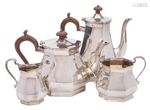 A George VI silver four-piece tea and coffee service, maker Roberts & Belk Ltd, Sheffield,