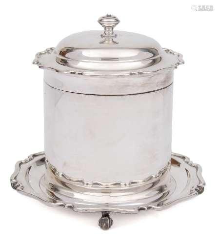 A George V silver biscuit barrel, maker Atkin Brothers, Sheffield, 1914: of cylindrical outline,