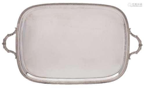 An Elizabeth II silver serving tray, maker Roberts & Belk, Sheffield,
