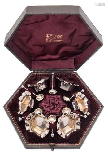 A set of six Victorian silver gilt salts, maker Colen Cheshire, Birmingham,