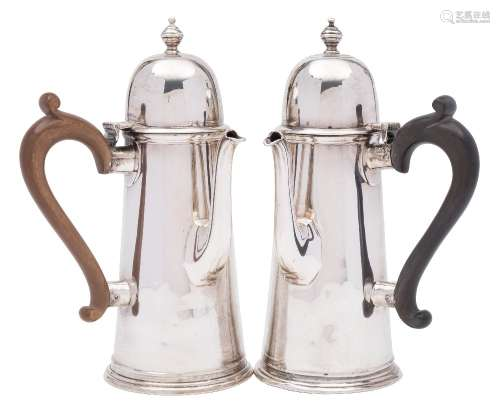 A pair of Edward VII silver chocolate pots, maker George Edward & Sons, London,