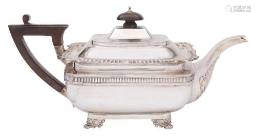An Edward VII silver teapot, maker Thomas of New Bond Street, London, 1906: of rectangular outline,