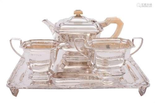 A George V silver four-piece tea service, maker Elkington & Co, Birmingham,