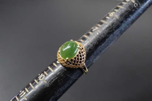 14K gold and jade ring.