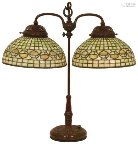 Tiffany Studios Acorn Double Student Lamp