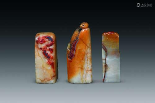 清代  寿山石印材三方