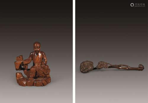 黄杨木雕灵芝高士摆件