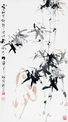 黄稷堂 (1903-1985) 竹石图 设色纸本镜片