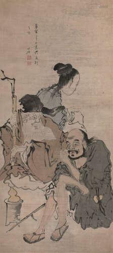 张士保人物 清绘本 原装1轴 纸本 立轴