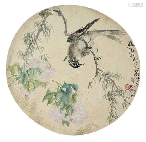 王礼 花鸟 设色绢本 团扇