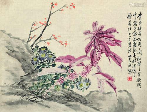 姜世刚 花卉  设色纸本 镜心