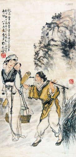 杨飞 (1902-1993) 孟母三迁 设色纸本立轴