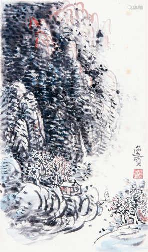 黄逸宾 (1919-2002) 山水 设色纸本立轴