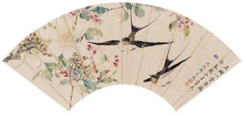 沈振麟(1669~1735) 玉堂春燕 镜心 设色纸本