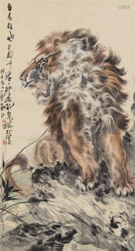 蔡鹤汀(1909~1976) 狮吼 立轴 设色纸本