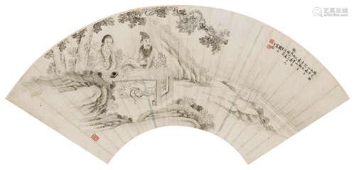 闵元 1896年作 桐荫听瑟 镜心 水墨纸本