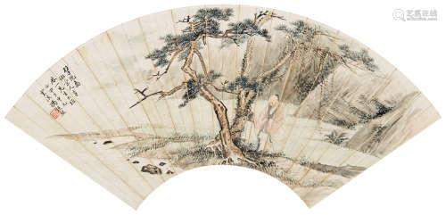冯超然(1882~1954) 1924年作 擘阮图 镜心 设色纸本
