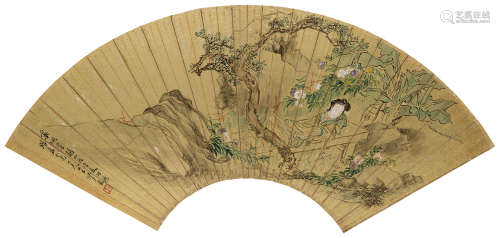沙馥(1831~1906) 1885年作 药栏华韵 镜心 设色金笺纸本