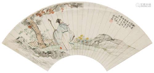 潘振镛(1852~1921) 1907年作 松菊犹存 镜心 设色纸本