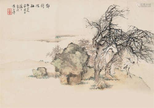 黄山寿(1855~1919) 邓尉探梅 镜心 设色绢本