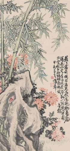 蒲华(1832~1911) 1904年作 竹报平安 立轴 设色纸本