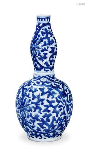 清康熙 青花缠枝莲纹葫芦瓶