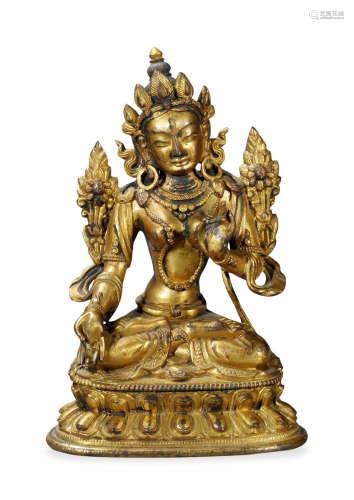 清中期 铜鎏金白度母