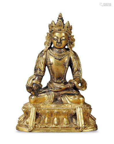清中期 铜鎏金菩萨
