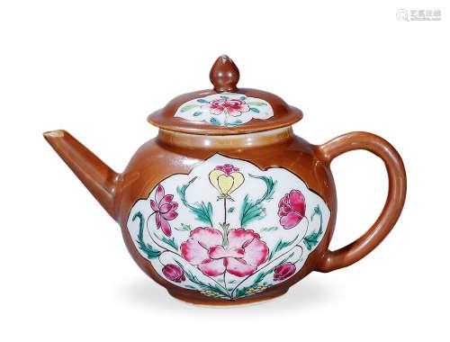 清雍正 酱釉开光粉彩花卉壶