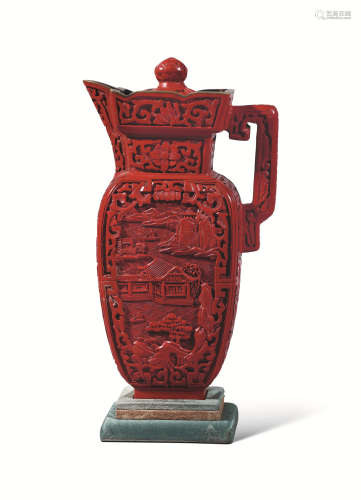 清 剔红雕漆绘人物僧帽壶
