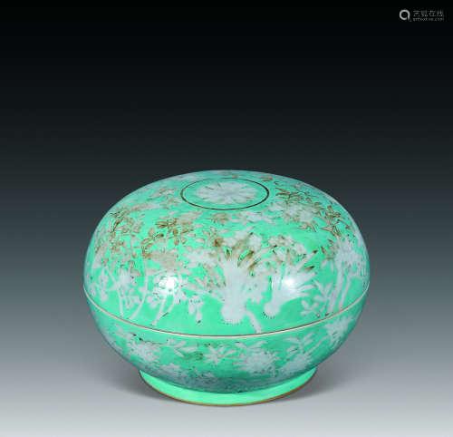 清 松石绿留白捧盒