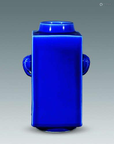 清 蓝釉象耳琮式瓶