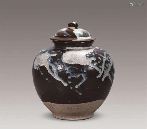明 鲁山窑泼彩盖罐