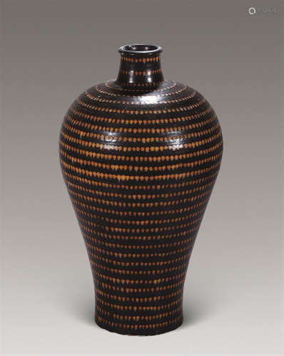 明 吉州窑串珠纹梅瓶