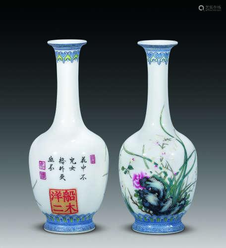 民国 珐琅彩兰草直颈瓶 (一对)