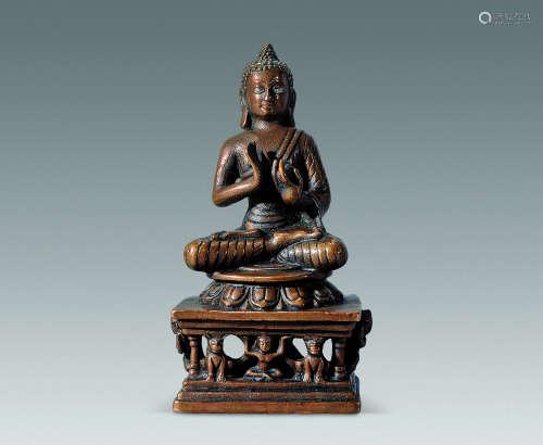 14世纪 铜银眼佛祖像