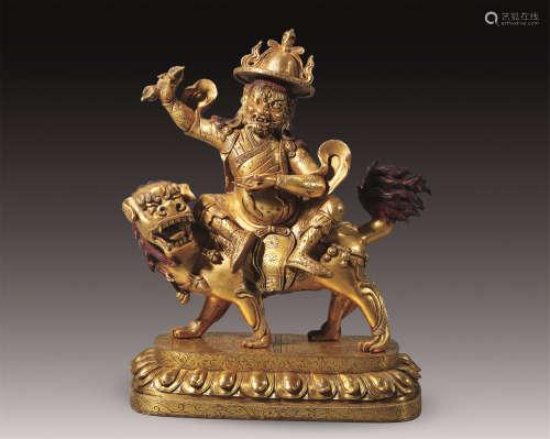 17世纪 铜鎏金具誓金刚护法