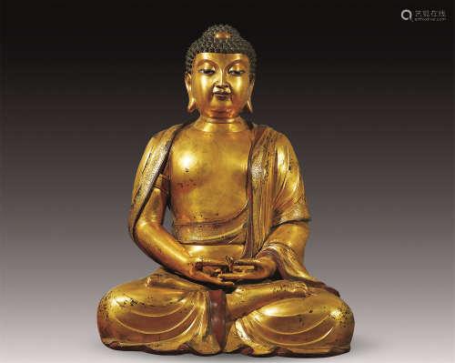 明 铜鎏金如来佛祖坐像
