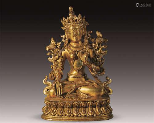 清中期 铜鎏金白度母坐像