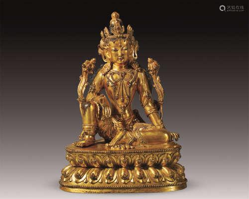 17世纪 铜鎏金游戏坐度母