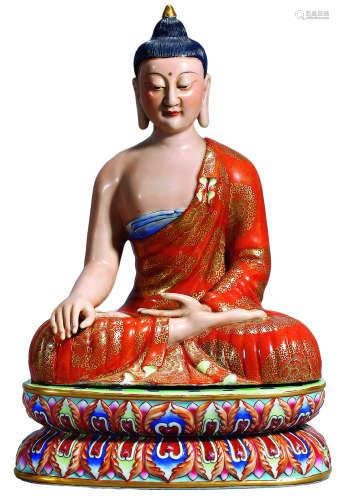 民国 粉彩佛祖坐像