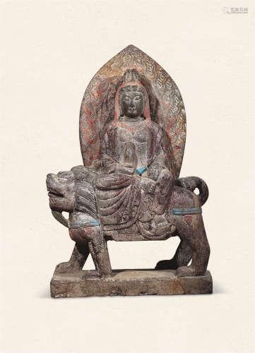 石雕彩绘文殊菩萨