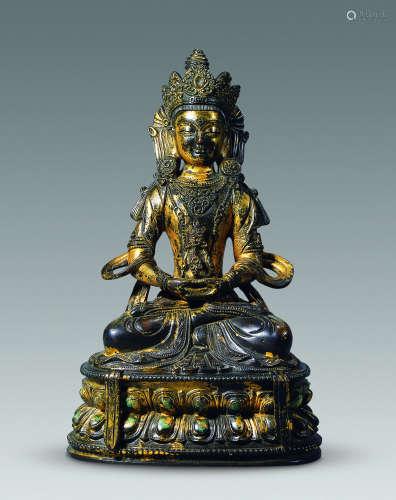 清康熙 铜鎏金无量寿佛坐像