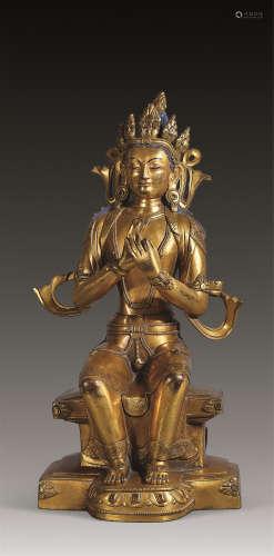 清 铜鎏金弥勒菩萨