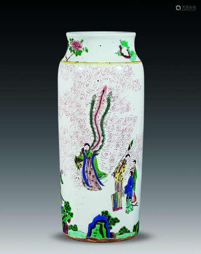18世纪 五彩麻姑献寿筒瓶