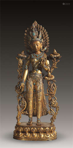 明 铜鎏金莲花手菩萨立像